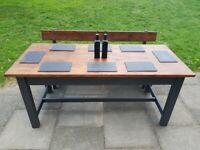 Rustic refectory farmhouse grey DINING TABLE + reclaimed BENCH shabby chic FREE LOCAL DELIVERY