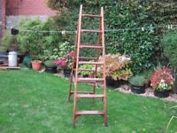 Quality timber step ladder. Two metres high when open. Vintage Ex Post Office.
