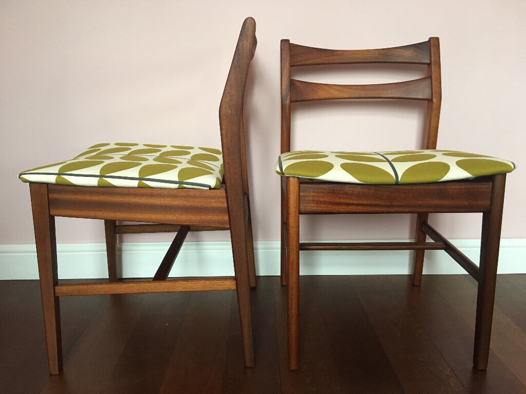Retro Vintage Mid Century Danish Style Solid Teak Dining Chairs With Orla Kiely Fabric X4