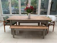Characterful wood dining table with benches seats 8 (10 with chairs)
