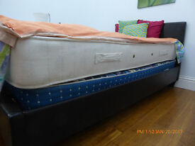 Twin Bed FRAME with headboard, Faux leather, black, new in 2015. Never used.