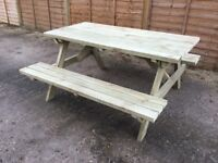 Rustic Wooden 5ft/6 Person Picnic Bench