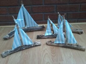 DRIFTWOOD DEVON SAILBOAT BOAT COTTAGE DECOR NAUTICAL HANDMADE BEACH HOUSE SAILOR CAFE PUB DECOR