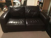 2 seater brown leather sofa, originally from Furniture Village