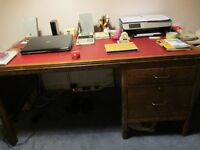 VINTAGE SOLID OAK DESK WITH LEATHER TOP and 2 SIDE DRAWERS
