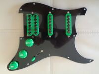 Handmade Loaded Pickguard with Neodymium Invader style pickups, Treble Bleed and HB split