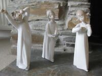 Lladro Figurines Girl with violin, boy yawning, girl with candlestick