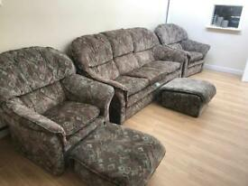 Sofa set 1 x 2/3 seater 2 x 1 seater and 2 x footstool