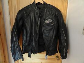 Men`s black leather motorcycle jacket