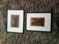 Two old prints mounted in dark wood frame