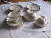 Hand painted bone china part tea set by Lawleys of Regent street
