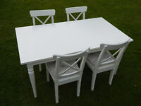 Ikea Ingatorp extending table and four Ingolf chairs