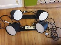 DJ lighting strips. Pre mounted onto wooden racks with extension leads attached.