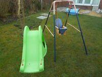 Children's slide and swing