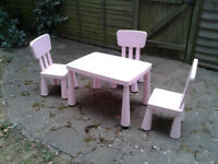 Children's Plastic Table & 3 Chairs (IKEA Mammut) #FREE LOCAL DELIVERY#