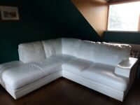 White leather corner settee