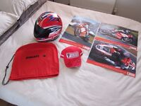 Ducati Corse Suomy Full Face helmet + Autographed Cap and Posters by Lorenzo Lanzi and Troy Bayliss