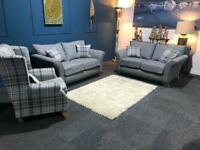 Lovely blue/grey suite with tartan cushions 2 x 2 seater sofas and Queen Anne accent chair