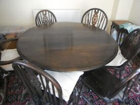TABLE AND SIX CHAIRS, OAK, CHAIRS X 6, TABLE HAS FOLDING LEAVES
