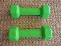 Green Dumbbells / Dumbells / Dumb bells Handweights / Hand weights Home Office Fitness Gym Exercise