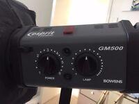 Bowens Esprit Gemini GM500 2 Head Studio Lights Kit Great Condition - ideal for home studio/weddings