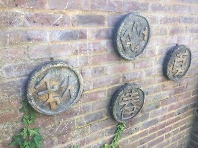 VINTAGE SET OF STONE GARDEN ORNAMENTS WALL PLAQUES JAPANESE CHINESE SYMBOLS