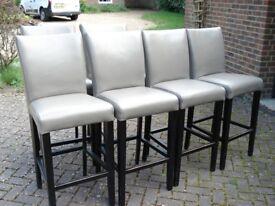 6 grey leather bar stools