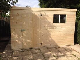 GARDEN PENT SHED/WORKSHOP 10X8 NEW HEAVY DUTY TONGUE+GROOVE.. WELL MADE BUILDINGS NOTTINGHAMSHIRE