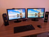 Gaming PC with monitors, Audio Interface, Wireless keyboard and mouse, webcam (& optional speakers)