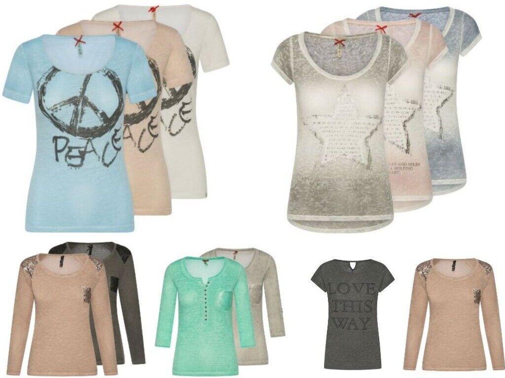 Key Largo Damen Oberteil Top Bluse T-Shirt Longsleeve Print Pailletten