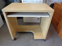 Small Computer Desk with Sliding Keyboard Shelf