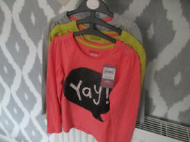 GIRLS (BRAND NEW WITH TAGS) LONG SLEEVED TOPS - AGE 4-5