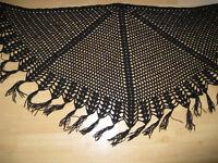 Used Black crochet shawl with tassels