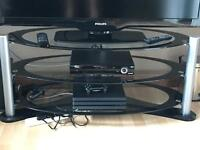 Black and clear glass tv stand