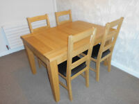 Double Extending Oak Dining Table + 6 Chairs