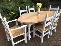 Pine Farmhouse Table & 6 Chairs