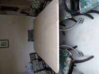 Marble dining table & eight chairs ( need re-upholstering also small matching sideboard