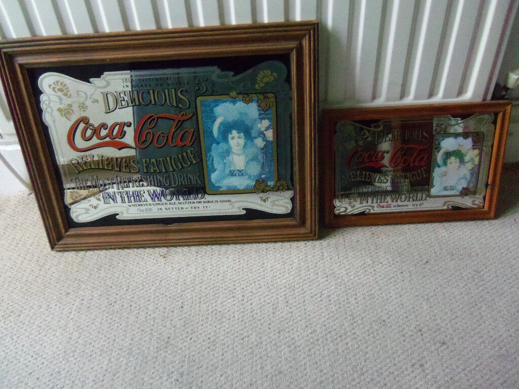 Breweriana man cave vintage advertising pub mirror COKE size W20H15inch and W13H9inch