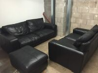 Black LEATHER 3 + 2 seater Sofa and footstool