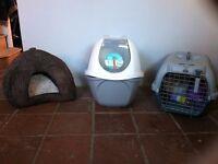 CAT LITTER TRAY WITH ROOF & FLAP, CAT TRANSPORTATION BOX, CAT FLAP & VELVET CAT IGLOO