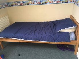 3 ft wooden bed and mattress