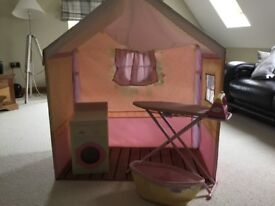 Rose petal cottage with ironing board and washing machine