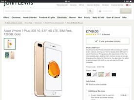 Iphone 7 plus 128gb unlocked rrp£749 swap/sell