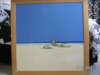 Original Painting in Acrylic.Seascape,Anchor post on a deserted beach by John Horsewell
