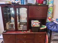 Free solid wood display cabinet