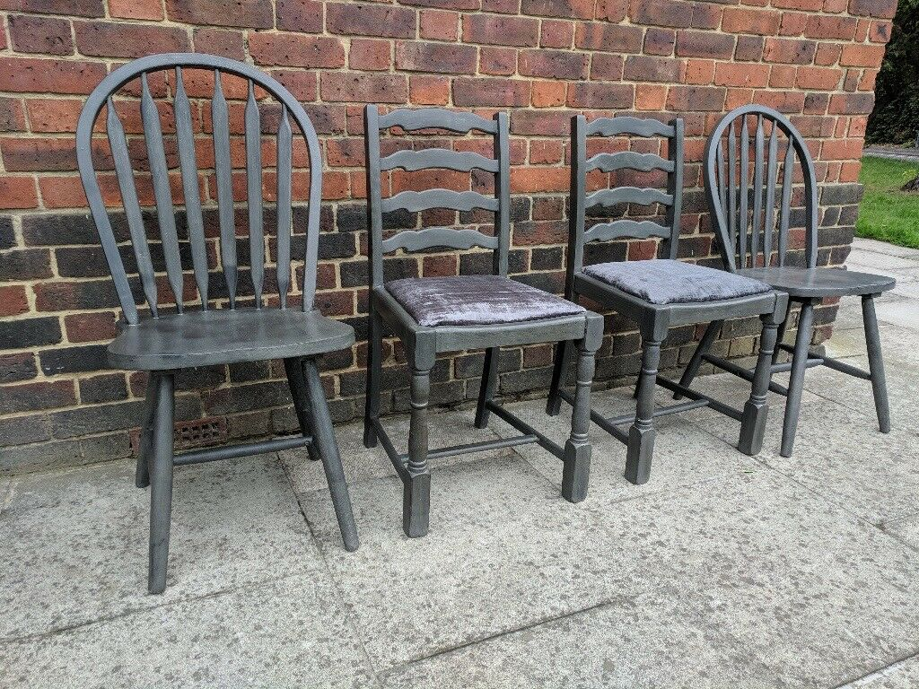 Rustic mismatched dining chairs x 4 charcoal distressed eclectic boho local delivery