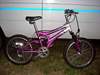 """GIRLS 20"""" WHEEL FULL SUSPENSION MOUNTAIN BIKE JUST BEEN SERVICED AND SAFETY CHECKED"""