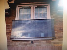 Juliet Balcony -10mm Toughened Glass with Stainless Steel Rails-including all fixings£300ono