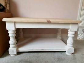 Solid pine coffee table with chalk white base