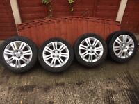 vauxhall corsa alloy wheels 4 stud with tyres,185-55-15